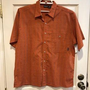 Patagonia Rust Orange Plaid Check Short Sleeve LG
